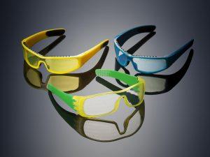 Hochertige 3D-Druck Prototypen für das Brillendesign mit Farbe, Transparenz und weichen Auflagen.