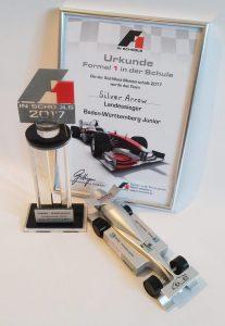 Pokal und Urkunde für das Team - Silver Arrow - für das Rennauto mit Teilen aus dem 3D-Drucker
