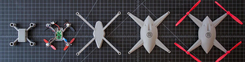 Vom MakerBot gedruckte Drohne