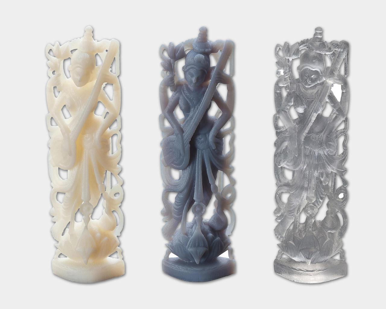 PolyJet Objet Eden 3D Druckmuster verschiedene Materialien.