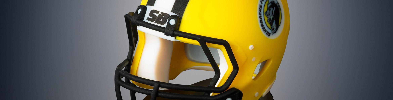 Detail eines 3D gedruckten Football Helms