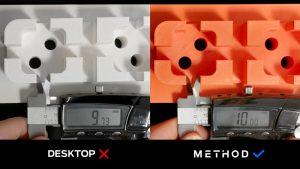 Vergleich Maßhaltigkeit Desktop vs. Method
