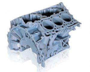 Modell eines Motorblocks aus blickdichtem Vero PolyJet Photopolymer