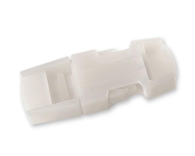 Eine 3D-gedruckte Schnappbefestigung aus dem polypropylen-ähnlichen Material Durus.