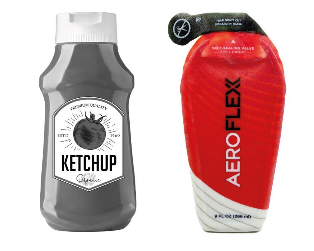 Rendering der traditionellen Quetschflasche (links) und das AeroFlexx 3D-Druck Konzeptmodell des neuen Verpackungsdesign (rechts).