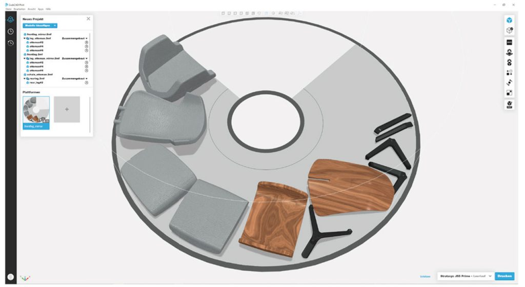 Modell eines von Thinkable Studio mithilfe der Software GrabCAD Print entworfenen Stuhls, dargestellt auf der Rotationsdruckplattform der J55