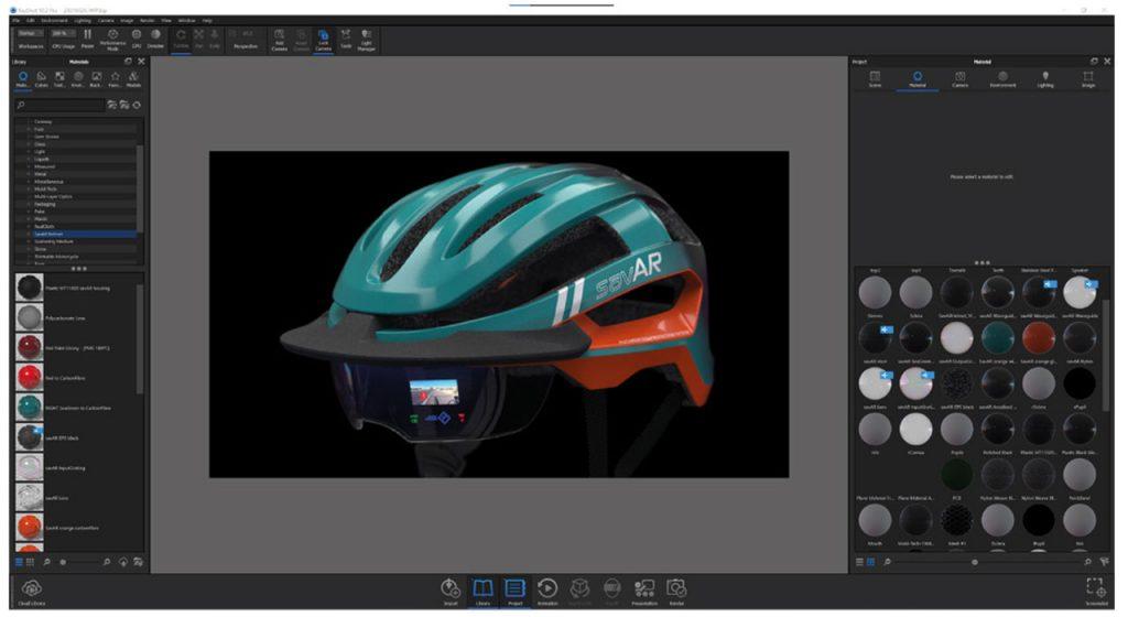 Das Fahrradhelm-Produktdesign von Thinkable Studio in deren 3D-Rendering-Software KeyShot 10